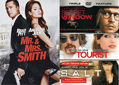Mr & Mrs. Smith DVD + Salt Angelina Jolie Action Movie The Tourist & Secret Window 4 Film Set