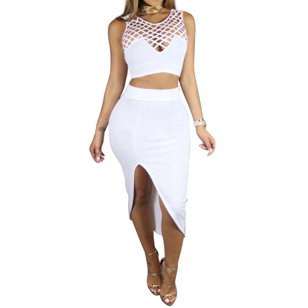 Bodycon4U Women Bandage Dresses Boho Ethnic Crop Top and Bodycon High Waist Skirt Set White M