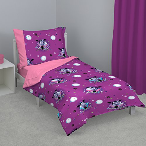 Disney Vampirina 4 Piece Toddler Bed Set, Purple/Pink/Lavender