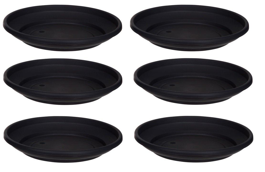 6 x Black Plastic Plant Pot Saucer 43cm Saucer Whitefurze