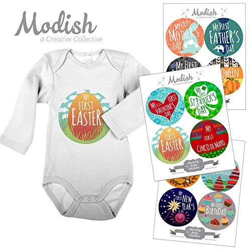 Modish Labels, 12 First Holiday Baby Stickers, Baby's First Easter, Baby's First Mother's Day, Baby's First Father's Day, Baby Photo Prop, Baby Shower Gift, Baby Book Keepsake]()