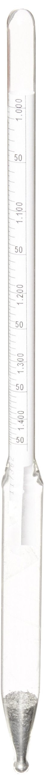 Chase Instruments 31500 Dual Scale Baume Heavy Specific Gravity Hydrometer, 1.000-1.450 Graduation Range, 0 to 45 Range, 0.005mm Interval, 300mm Length