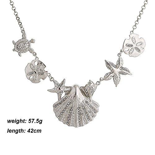 Meiligo Fashion Sea Shell Starfish Faux Pearl Collar Bib Statement Chunky Necklace (Silver-1) by Meiligo