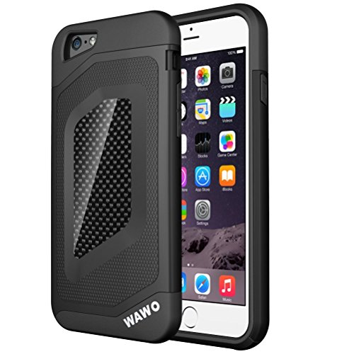 "iphone 6 Plus Case - WAWO Sport Luxury Fashion [ Carbon Fiber Trim ] TPU + PC Double Protection Shell for Apple iphone 6 5.5"" -Black"