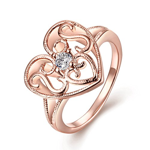 Old Person Couple Costume (Women's New Exquisite Fashion Jewelry Hot Sale Rose Gold Heart Hollow Pattern Zircon Wedding Ring)