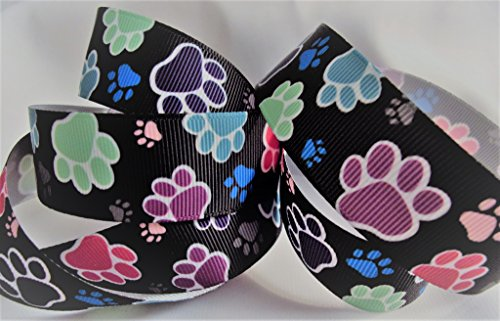 Grosgrain Ribbon - Black with Multi Colored Paw Prints - 7/8