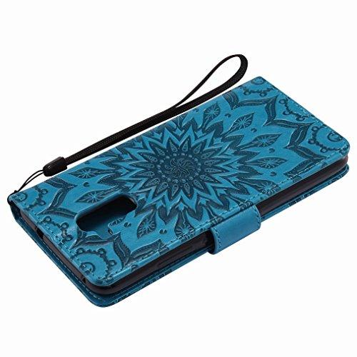 Yiizy Huawei Honor 5c Custodia Cover, Sole Petali Design Sottile Flip Portafoglio PU Pelle Cuoio Copertura Shell Case Slot Schede Cavalletto Stile Libro Bumper Protettivo Borsa (Blu)