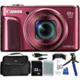 Canon PowerShot SX720 HS Digital Camera (Red) - International Version (No Warranty) 32GB Bundle 14PC Accessory Kit Which Includes Replacement NB-13L Battery, 5 Piece Camera Cleaning Kit, MORE