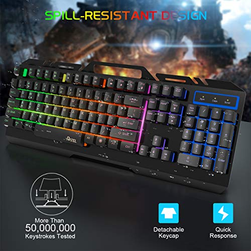 Gaming Keyboard, RATEL All-Metal Panel with Mechanical Feeling Colorful Rainbow LED Backlit USB Computer Wired Keyboard for PC/MAC/Desktop Pro Gamer (Black & Rainbow LED Backlit)