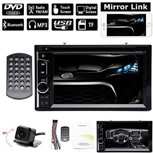 (Double Din Indash Car Stereo with Reverse Camera, Mirror Link, Bluetooth,CD DVD Player, AM FM,USB, Steering Wheel Control + Remote Controller, for Scion tC xB 2005-2015)