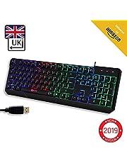 LIM Chroma Gaming Keyboard UK Layout + Slim, Durable, Ergonomic, Quiet, Waterproof, Silent Keys, USB + Wired Backlit Keyboard for Laptop PC Mac Gamer PS4 keyboard + NEW VERSION + Black