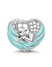 GNOCE Baby Charm Bead 925 Sterling Silver Sleeping Baby Wrapped in Angel Wings Charm with CZs Fit for Bracelet/Necklace Charm Gifts for Mothers Friends