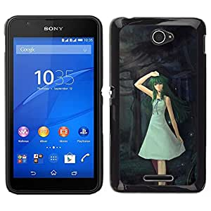 // PHONE CASE GIFT // Duro Estuche protector PC Cáscara Plástico Carcasa Funda Hard Protective Case for Sony Xperia E4 / Cute Fantasy Forrest Girl /