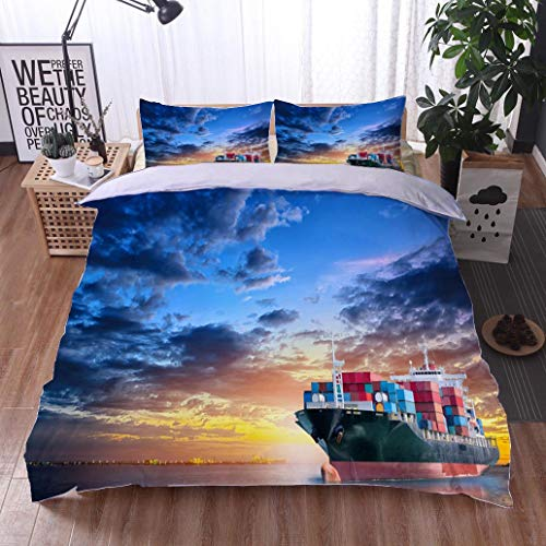 bed comforter - 3-piece duvet -All Season , Logistics and transportation of International Container Cargo ship in the ,HypoallergenicDuvet-MachineWashable -Twin-Full-Queen-King-Home-Hotel -school
