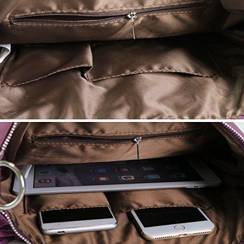 KIPTOP Novedad Moda y Retro bolsos Con flecos de PU Mensajero Bolsos para mujer ocio con estilo muchacha correa ajustable del bolso del bolso del mensajero del hombro Caqui morado
