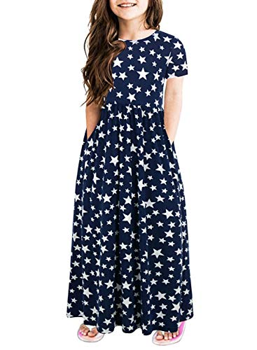 STKAT Girl's Kids Floral Printed Short Sleeve Pleated Pockets Casual Long Maxi Dress (Navy Star, S)