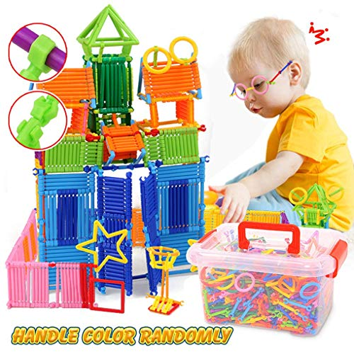 Lemical Over 500 Pcs Building Toy Building Blocks Bars Different Shape Educational Construction Engineering Set 3D Puzzle Interlocking Creative Connecting Kit STEM Toy for Boys and Girl