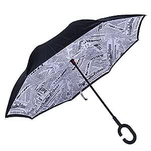 Ruda Paraguas Plegable con Mango en C, Doble Capa, Resistente al ...