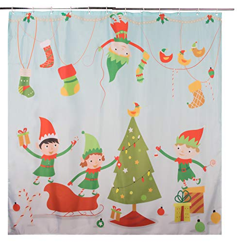 Juvale Christmas Shower Curtain with Hooks - Mildew Resistant Holiday Themed Shower Curtain, Large Decorative Bathroom Accessory, Polyester Fabric, Elves, Tree and Gifts Design, Light Blue, 71 Inches