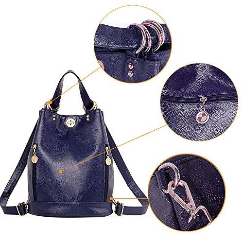 (JVP 1004-R) bolso de las señoras anillo de la PU impermeable de cuero mochila - bolso rojo occidental popular popular mochila liviana impermeable mochila de gran capacidad para el viajero Marina