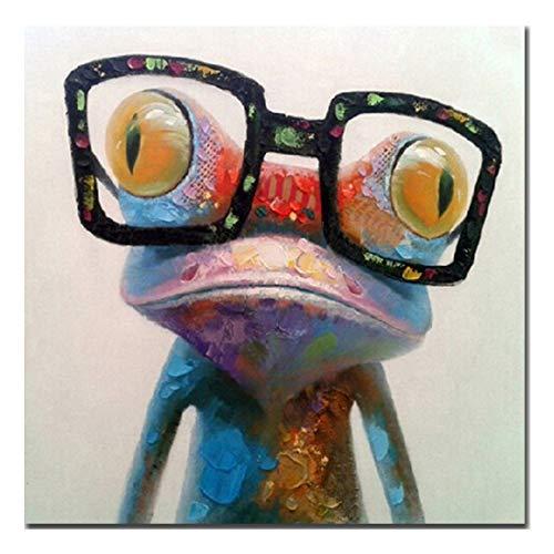 Fokenzary Peint à la main peinture à l'huile mignonne grenouille avec des lunettes sur toile tendue et encadrée moderne Pop Art mur de toile 24x24in