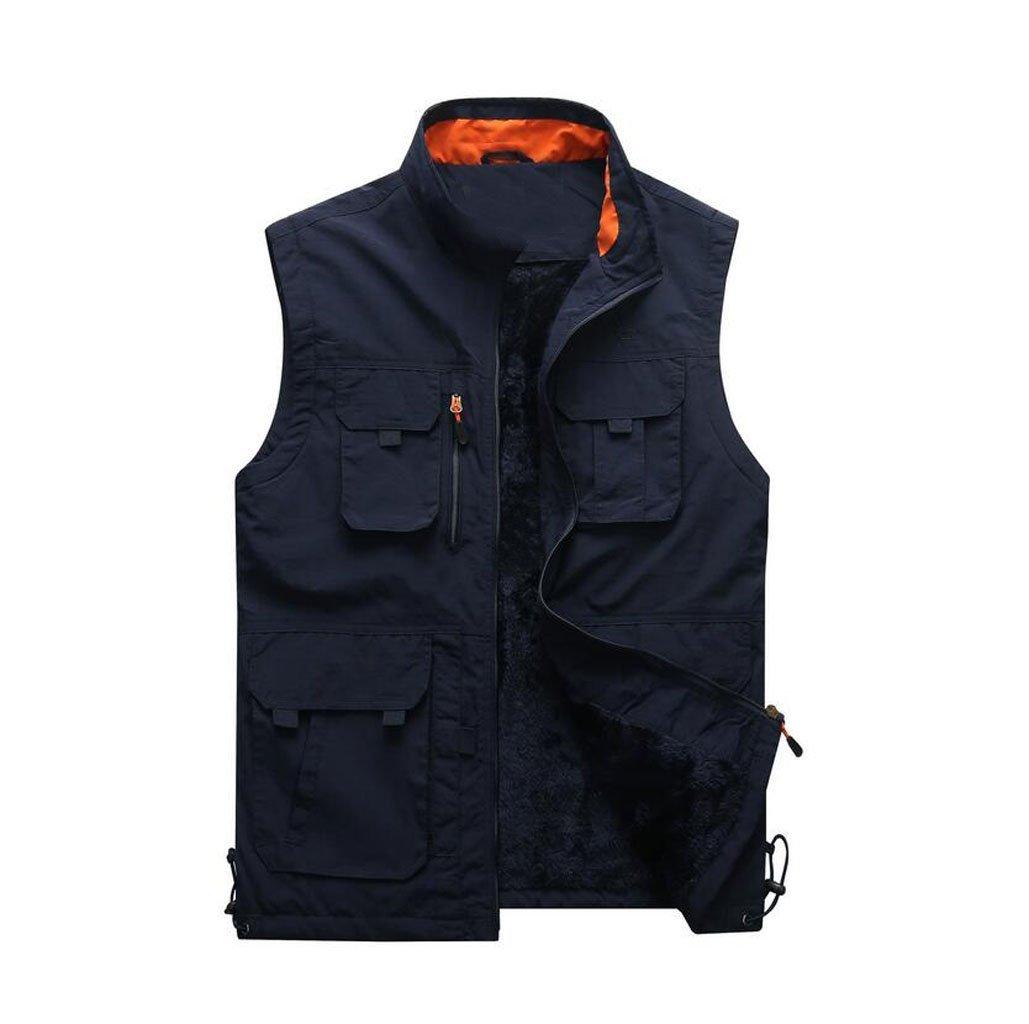 JBHURF Winter Herren Plus Weste Weste Outdoor-Multi-Tasche warme Weste große Größe Funktion Weste Armee grün (Farbe   Blau, größe   S)