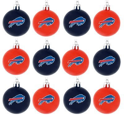 Forever Collectibles NFL Ball Ornament (Set of 12) NFL Team: Buffalo Bills (Buffalo Bills Ornaments)