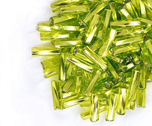 20g Crystal Light Olive Green Silver Lined Faceted Twisted Tube Square Hole Czech Glass Seed Beads Bugles, PRECIOSA Pearls, Rocaille Spacer