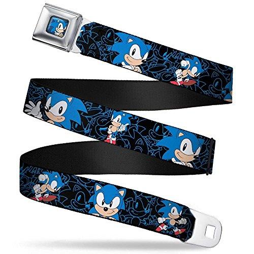 Buckle-Down Seatbelt Belt - Sonic the Hedgehog Poses/Outlines Black/Blue - 1.5