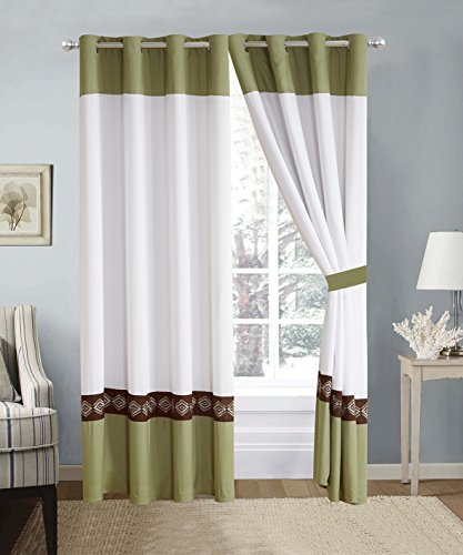 Green Window Curtain (4 Piece Sage Green / Brown / White Double-Needle Stitch Pinch Pleat Grommet Window Curtain set 108 x 84-inch, 2 Panels and 2 Ties)