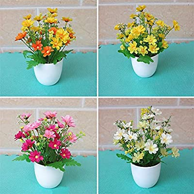 KKSB Artificial Flor 1pc Artificial en Maceta Artificial Jardín de Flores DIY Home Antique Wedding Party Garden Farmhouse Decoration Yellow: Amazon.es: Hogar