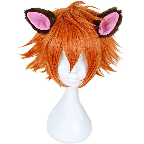 RightOn New Arrival Cool Boy Men's Original Design Cosplay Costume Party Short Layered Wig With Wig Cap (Orange Brown/Ears Not (Easy To Make Men Costumes)