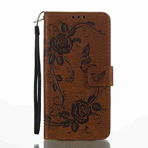 Halo 4 Cover - For Samsung Galaxy J7 V / J7 Perx / J7 Sky Pro / J7 Prime / J7 2017 / Galaxy Halo Case , Matop Luxury PU Leather Wallet Flip Protective Case Cover with Card Slots (Brown butterfly flower)