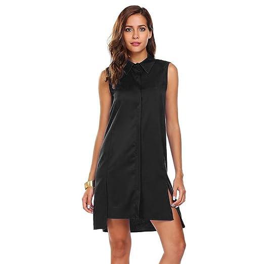 575c8574a009 Lelili Women Shirt Dress Sexy Solid Turn Down Collar Button Down Sleeveless  Above Knee Flowy Swing