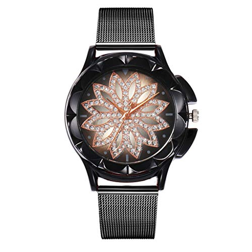 Orcbee  _vansvar Casual Quartz Stainless Steel Band Women Lucky Flower Rhinestone Watch (Black) ()