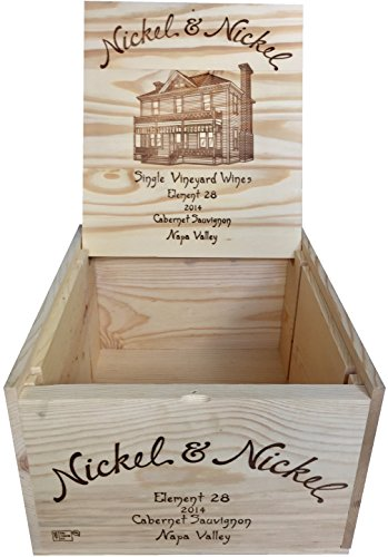 Vineyard Crates Wine Crate - Original Nickel & Nickel Decorative Wooden Wine Box with Hinged Lid and Logos On 5 Sides - Multiple Sizes - For Wedding, DIY or Wine Storage (14x12x8 NO Inserts)