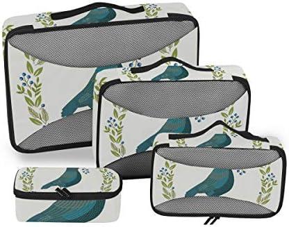 エレガントな緑の鳥荷物パッキングキューブオーガナイザートイレタリーランドリーストレージバッグポーチパックキューブ4さまざまなサイズセットトラベルキッズレディース