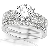 2.08 Carat 14K White Gold Three Row Prong and Middle Row Channel Set Round Diamonds Engagement Ring and Wedding Band Set with a 1.5 Carat Moissanite Center