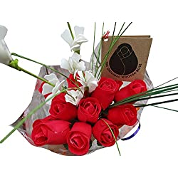 Valentines Day All RED Flower Bouquet The Original Wooden Rose (1 Dozen)
