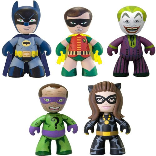 Batman Mini Mezitz 1966 Batman, Robin, Joker, Riddler, Catwoman Mini Figure Multi Pack