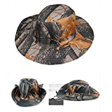 Unisex Sun Hat,Pausseo Camouflage Foliage Women Man Outdoor Hunting Fishing Cap Wide Brim Camo Bucket Hat (Red Leaves)