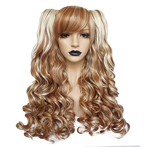Anogol Hair+Cap Long Body Wave Cosplay Wig Synthetic Wig Multi-Color Cosplay Party Wig With Bangs For Girls Halloween Costume Blonde Ombre White Wig]()