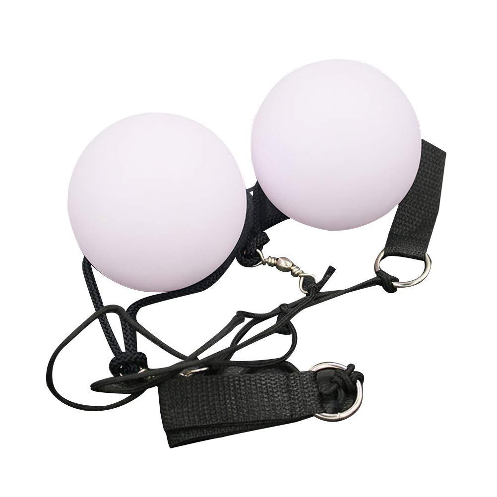 SUPVOX Bolas de malabarismo LED Spinning Color de Juguete de luz LED Que Cambia el Nivel de la Danza del Vientre Apoyos de Mano 2pcs (Blanco)