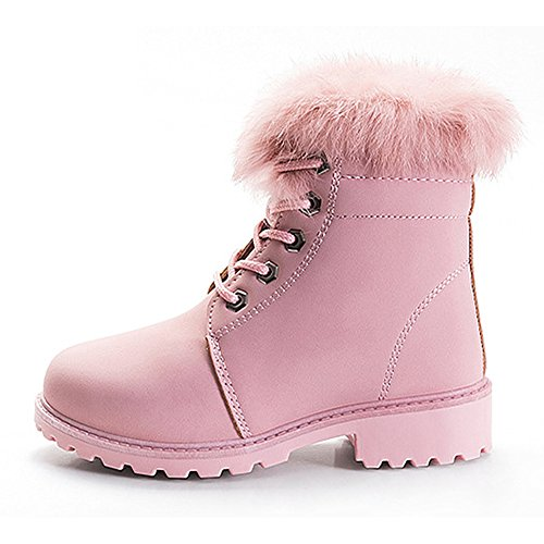 Chiximaxu Maxu High-Top Pink Faux Fur Boots Lace Up Ankle Boots for Little Kid Size 13