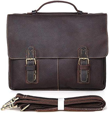 メンズブリーフケース クラシックヴィンテージレザービジネストートバッグ大容量のショルダーブリーフケースラップトップブリーフケース 便利で持ち運びが簡単 (Color : Dark brown, Size : 38x7.5x30.5cm)