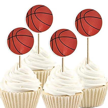 Amazon Com Imagitek 48 Pack Basketball Cupcake Toppers