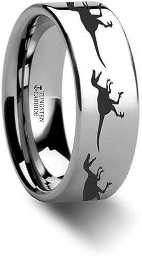 Thorsten Dinosaur Ring Raptor Velociraptor Prehistoric Paleo Flat Polished Tungsten Ring 8mm Wide Wedding Band from Roy Rose Jewelry