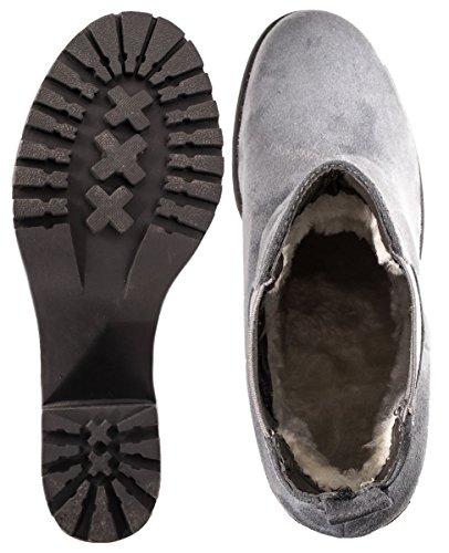 Elara Damen Chelsea Stiefel | Bequeme Stiefelette Profilsohle | Plateau Chelsea Boots Grau Gefüttert