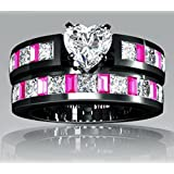 2017 Hot Fashion Red Ruby Black Gold Filled Wedding Bridal Ring Gift Size 5-11 (7)