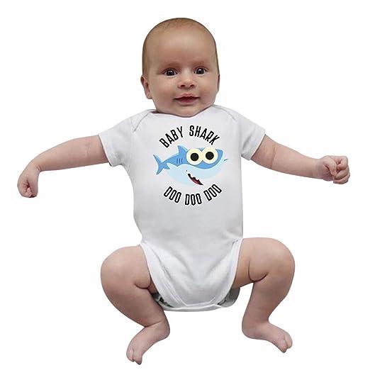 a2ad7b7d47ef Amazon.com: Riverdalin Newborn Infant Girl Boys Romper Baby Girl Short  Sleeve Shark Print Jumpsuit Bodysuit One-Piece Outfits: Clothing